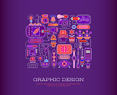 Abstract vector illustration with objects related to graphic design on a dark violet background.