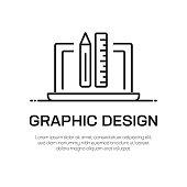 Graphic Design Vector Line Icon - Simple Thin Line Icon, Premium Quality Design Element