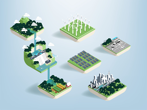Graphic design vector of water resources and benefit of water, green ecology elements, renewable energy and background, environment friendly concept, illustration vector of forest and water