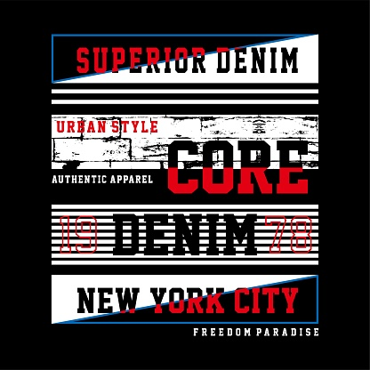Graphic design vector typography core denim for t shirt