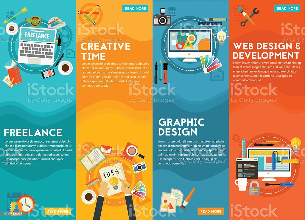 Graphic Design , Webdesign, Development, Freeance And Creative Time Concept vector art illustration