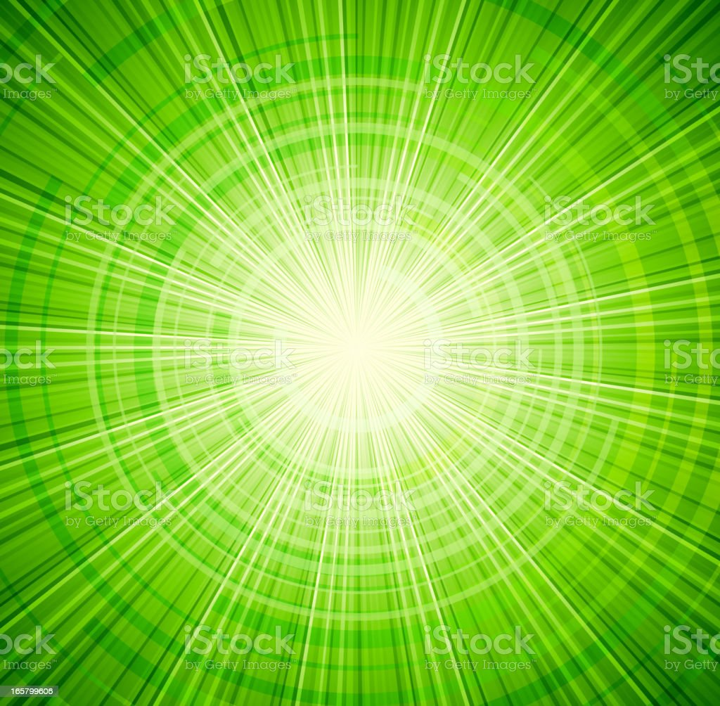 Graphic design with green light spreading from center royalty-free stock vector art