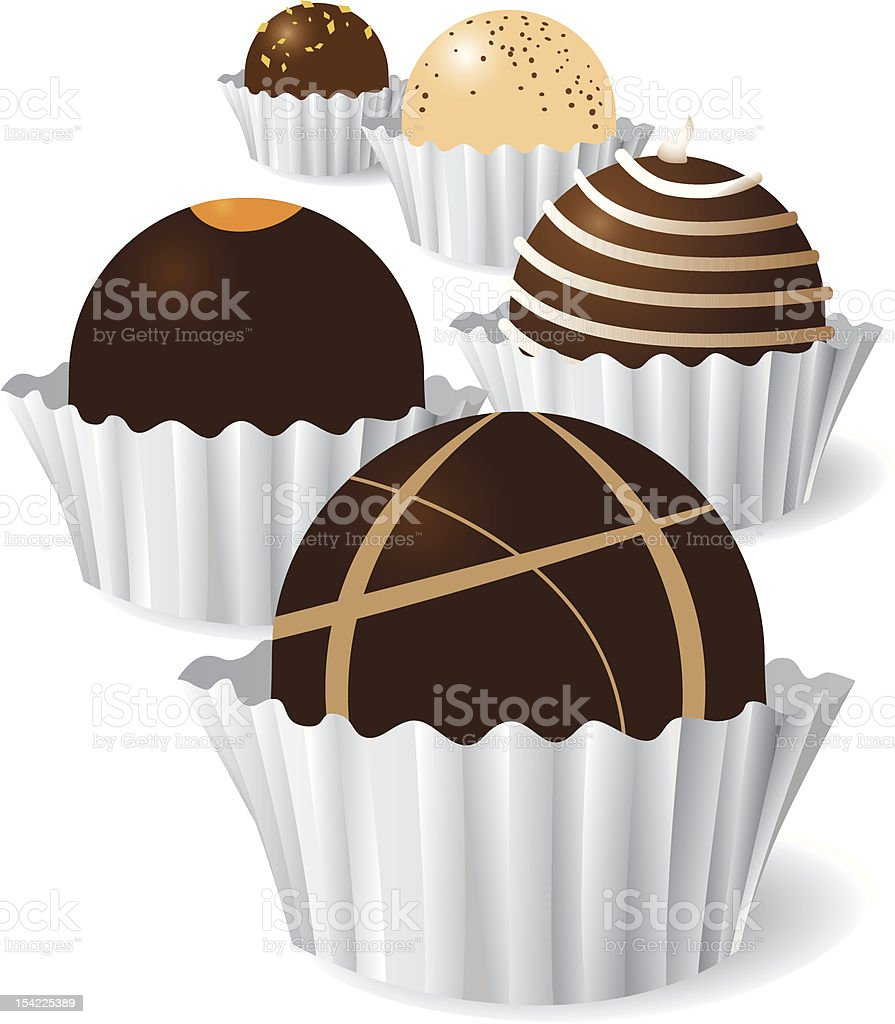 Graphic designed image of chocolate truffles