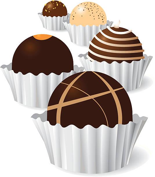 Graphic designed image of chocolate truffles vector art illustration