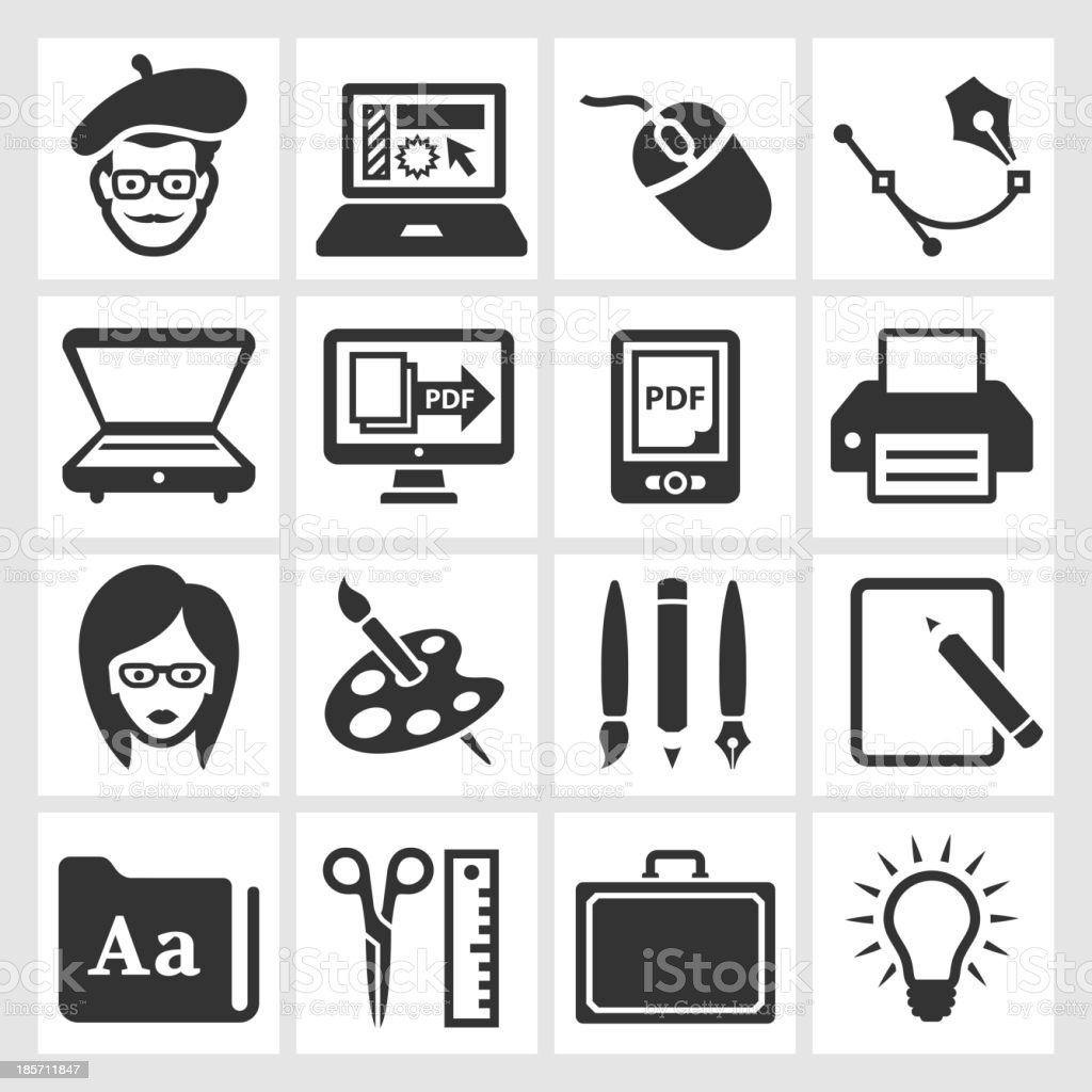Graphic Designer and Computer Illustration black & white icon set vector art illustration