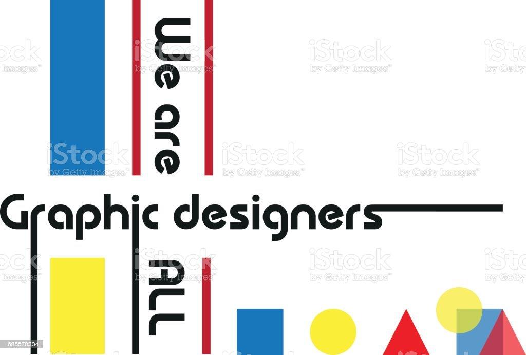 圖形設計師包豪斯風格向量口號 免版稅 圖形設計師包豪斯風格向量口號 向量插圖及更多 t恤 圖片