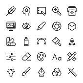 Graphic Designer Icons - MediumX Line Vector EPS File.