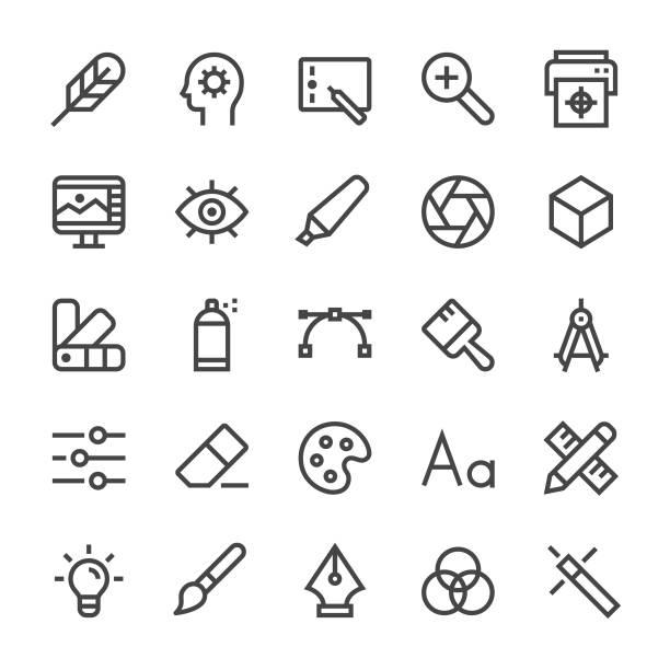 illustrations, cliparts, dessins animés et icônes de icônes de concepteur graphiques - ligne mediumx - bureau police