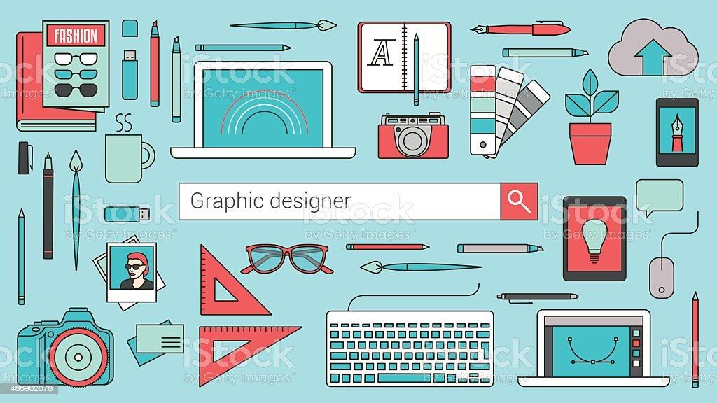 Graphic designer, illustrator and photographer vector art illustration