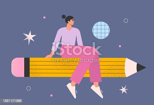 istock Graphic designer, illustrator, artist. Woman with a pencil in space. Drawing courses, lessons or classes. Creativity, inspiration, design concept. Art education. 1331121393