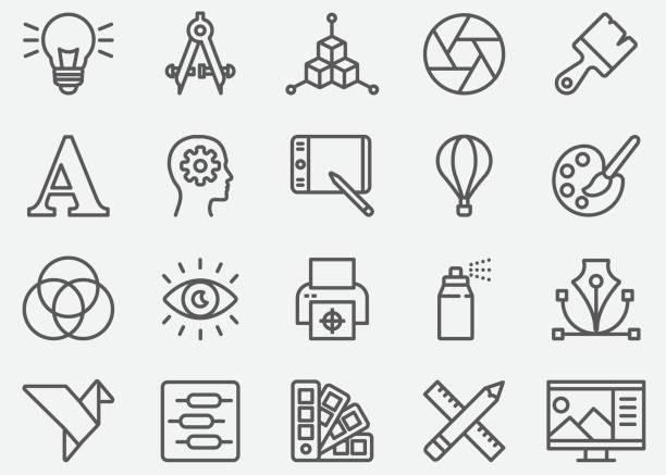Graphic Designer Line Icons Graphic Designer Line Icons creative occupation stock illustrations
