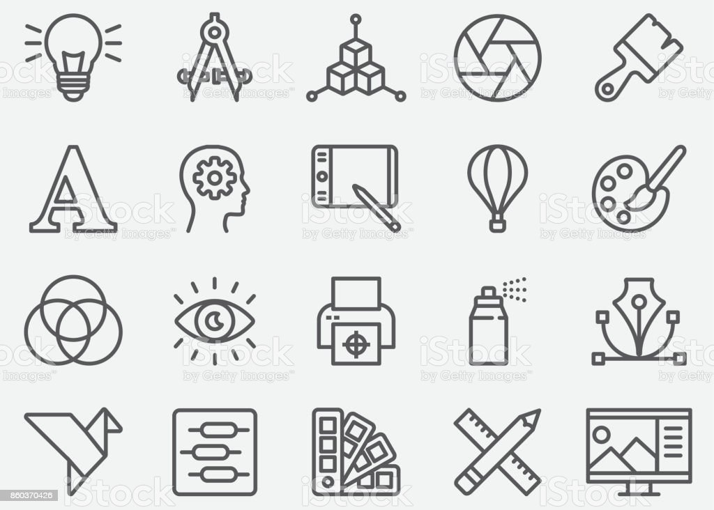 Graphic Designer Line Icons vector art illustration