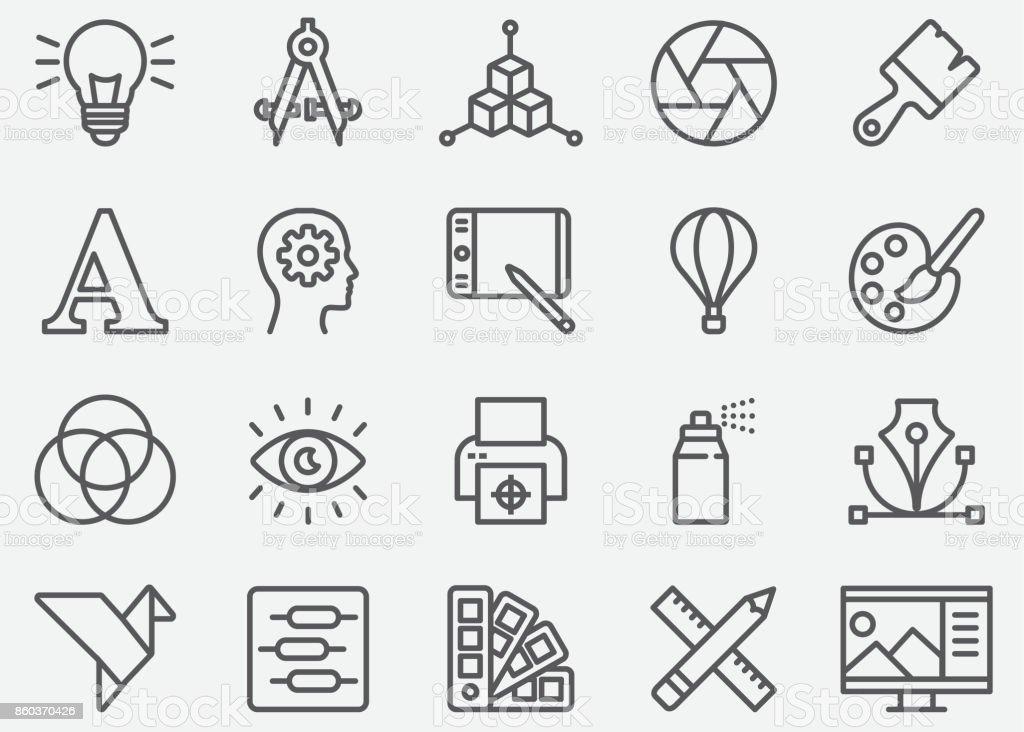 Grafik Designer Linie Symbole – Vektorgrafik