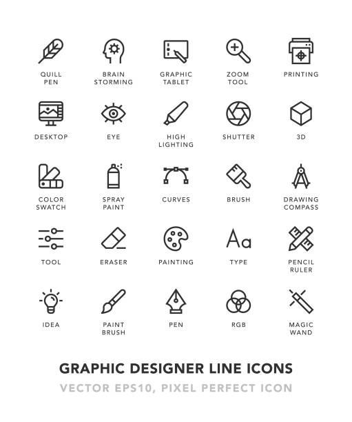 ilustraciones, imágenes clip art, dibujos animados e iconos de stock de iconos de la línea del diseñador gráfico - tipos de letra y tipografía