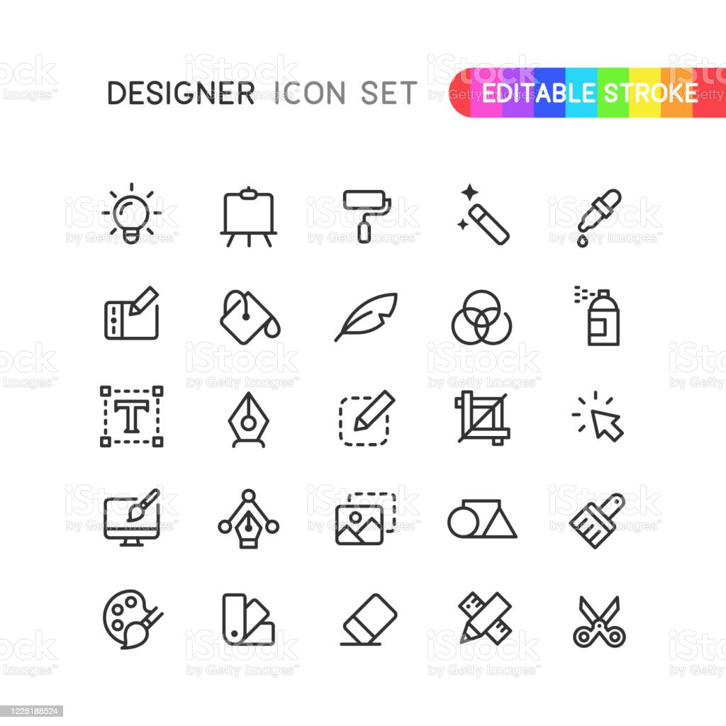 Graphic Designer Outline Icons Editable Stroke - arte vettoriale royalty-free di Arte