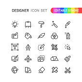 Set of graphic designer outline vector icons. Editable stroke.