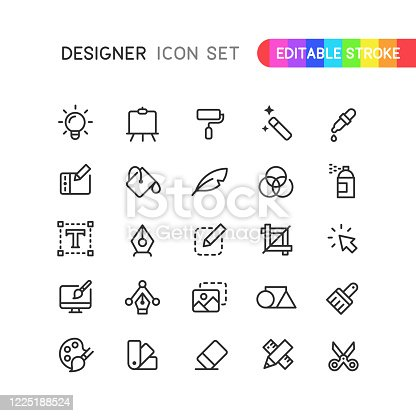 Set of graphic designer outline vector icons. Editable stroke.