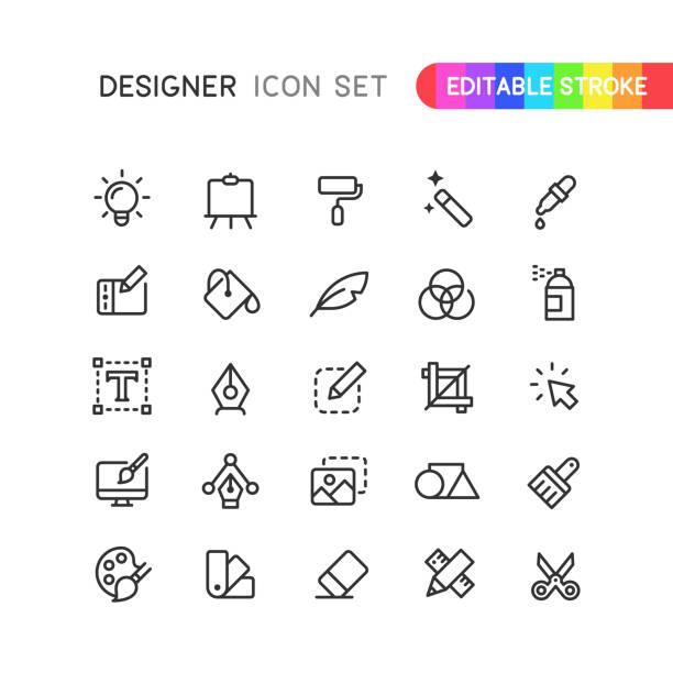 Graphic Designer Outline Icons Editable Stroke Set of graphic designer outline vector icons. Editable stroke. creative occupation stock illustrations