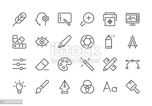 Graphic Designer - Regular Line Icons - Vector EPS 10 File, Pixel Perfect 24 Icons.
