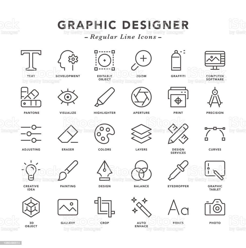 Grafik-Designer - Linienbus-Symbole – Vektorgrafik