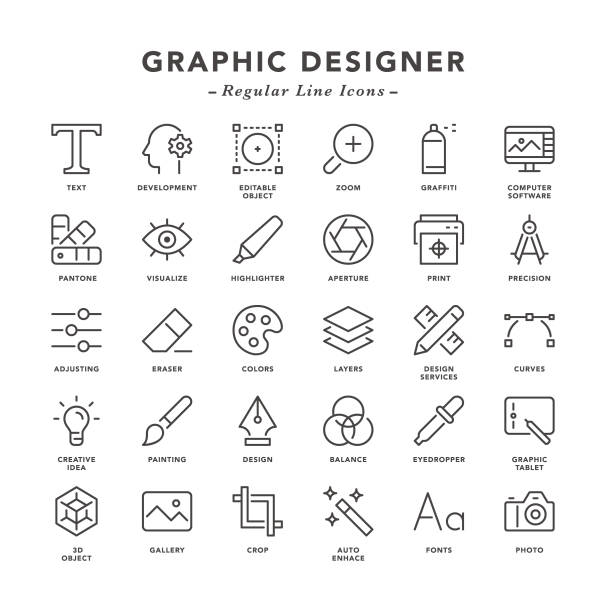 illustrazioni stock, clip art, cartoni animati e icone di tendenza di graphic designer - regular line icons - designer professionista