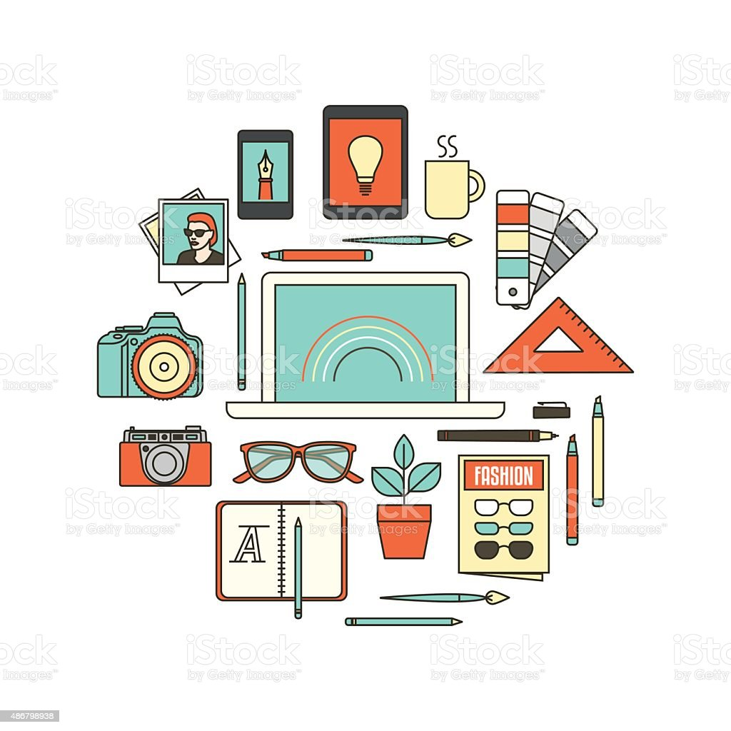 Graphic designer tools vector art illustration