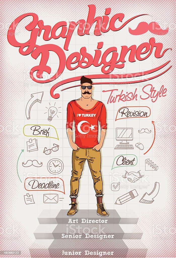 Graphic Designer Turkish style Retro Poster vector art illustration