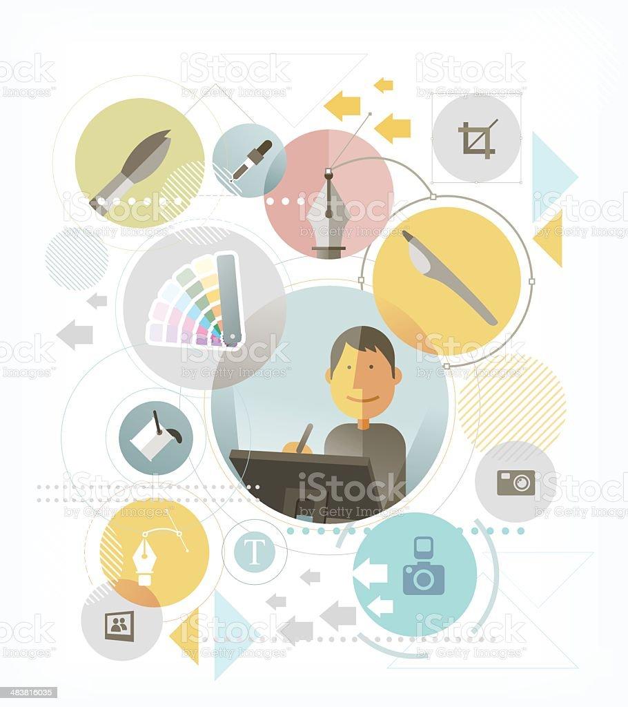Graphic Designer vector art illustration