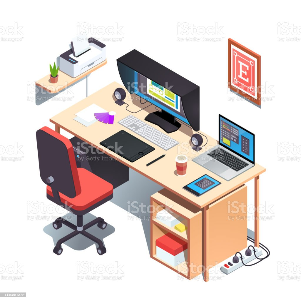 Graphic Designer Working Desk Opened Creative Project On