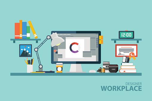 Graphic designer workplace flat design vector illustration.