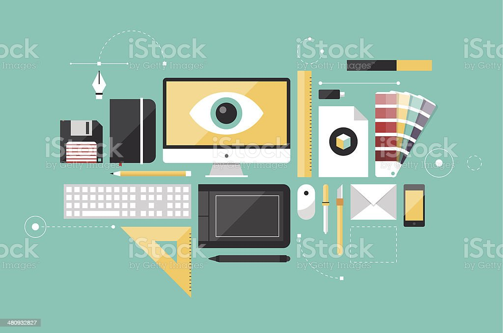Graphic designer workplace flat illustration royalty-free stock vector art