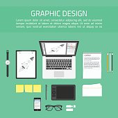 Graphic designer workplace top view.