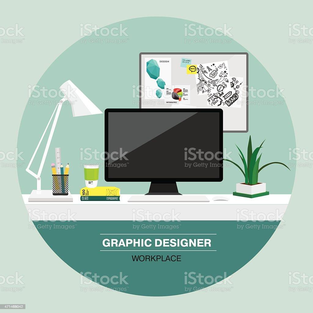 Graphic designer workspace. vector art illustration