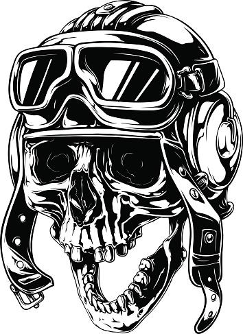 Graphic detailed old skull in retro pilot helmet