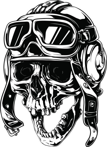 Graphic detailed old skull in retro pilot helmet vector art illustration