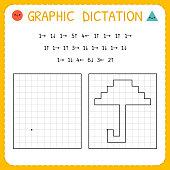 Graphic dictation. Umbrella. Kindergarten educational game for kids. Preschool worksheet for practicing motor skills. Working pages for children