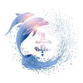 Graphic dolphins with circle of water