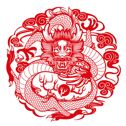 Graphic dragon in Chinese style