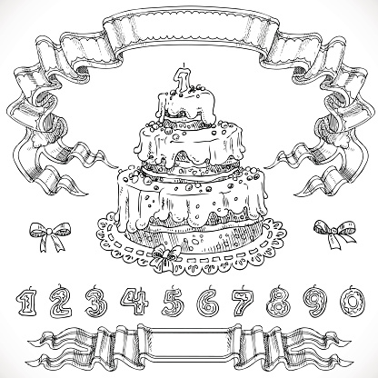 Graphic Drawing Birthday Cake And Decorative Design Elements Can Stock Vektor Art Und Mehr Bilder Von Ausmalen
