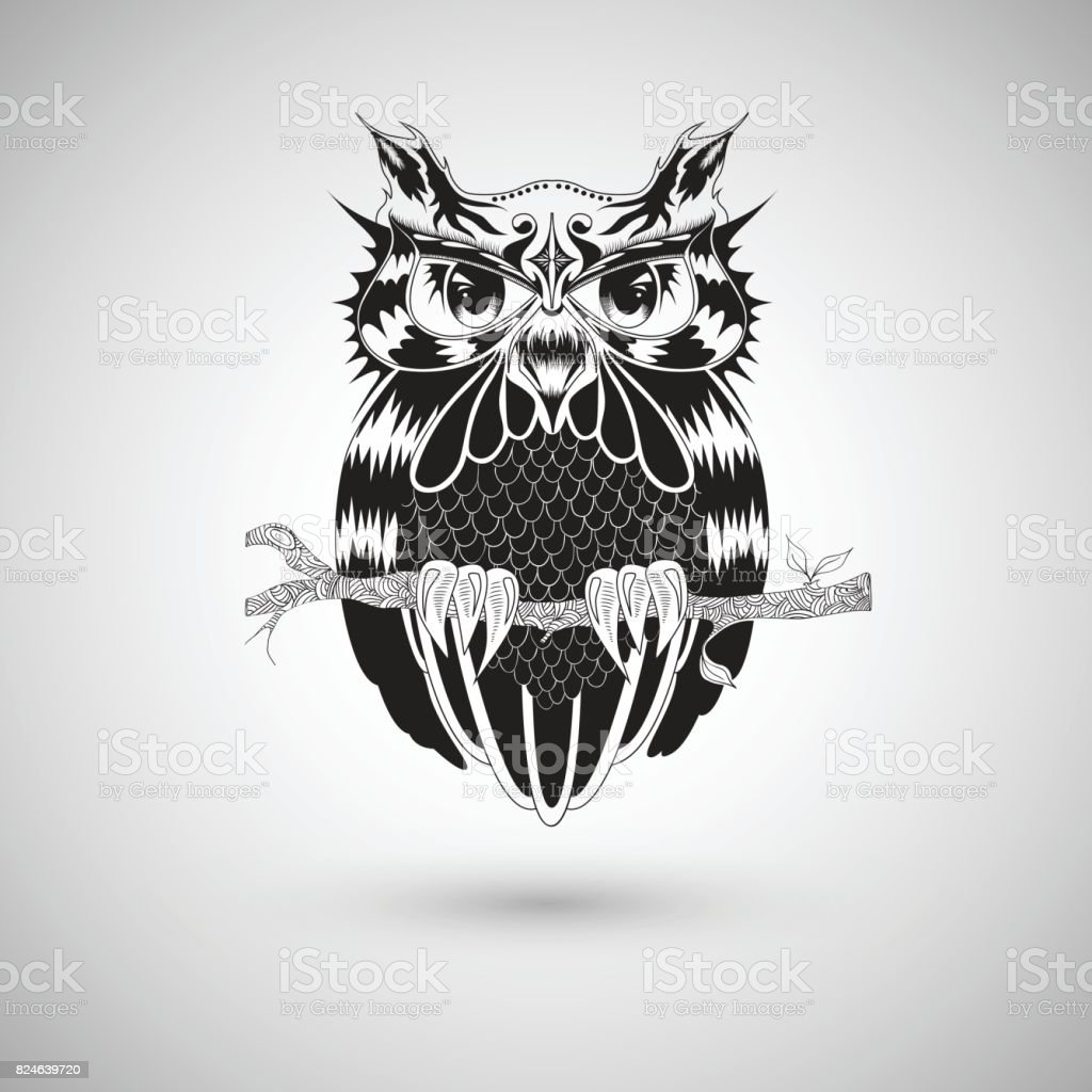 Graphic Drawing Of Owl Tattoo Design Vector Illustration Stock ...