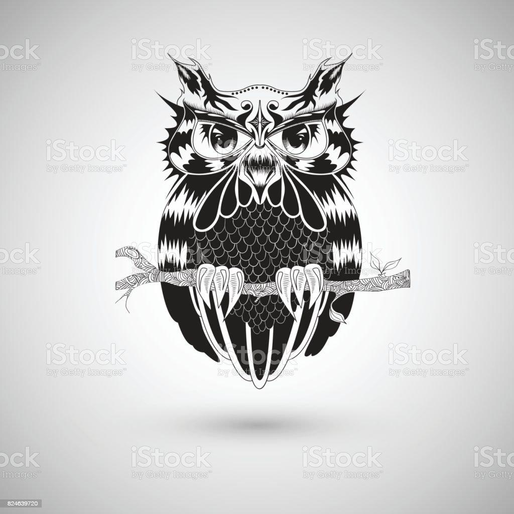 Vetores De Desenho Grafico De Coruja Tatuagem Desenho Ilustracao