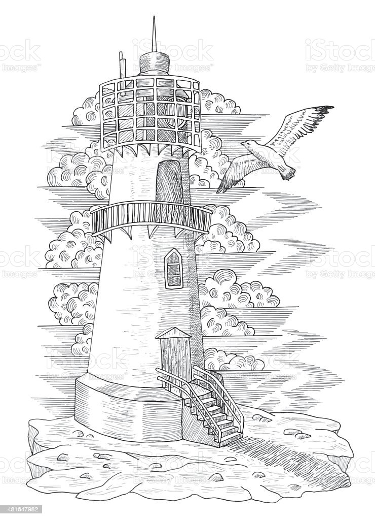 Graphic Drawing Of Vintage Light House Royalty Free Stock