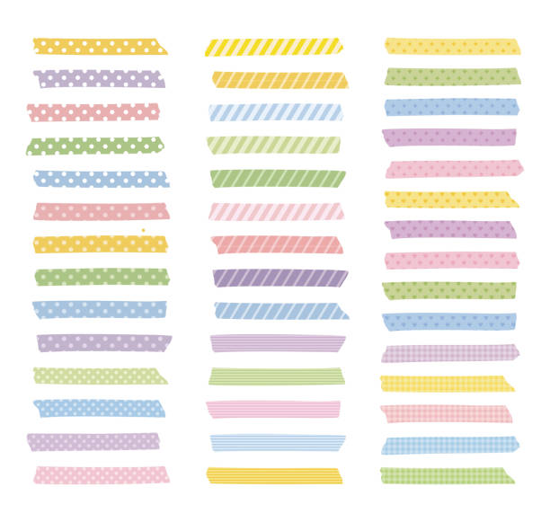 Graphic elements, colorful patterned masking tapes vector art illustration