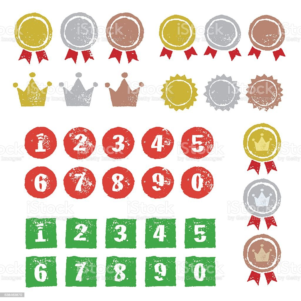 Grafische Elemente, Medaillen, Kronen und Zahlen Lizenzfreies grafische elemente medaillen kronen und zahlen stock vektor art und mehr bilder von stempel - büromaterial