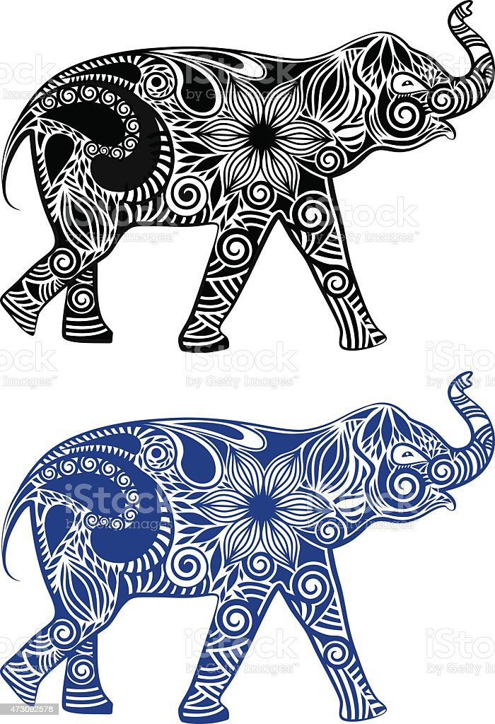 Graphic elephant vector art illustration
