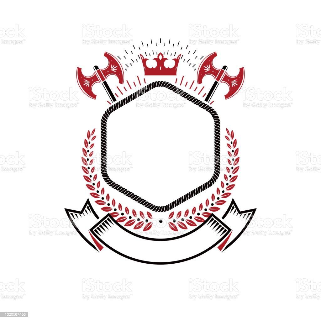 Símbolo gráfico composto com elemento de coroa real, eixos e fita de luxo. Ilustração em vetor brasão heráldico símbolo decorativo isolado. - ilustração de arte em vetor