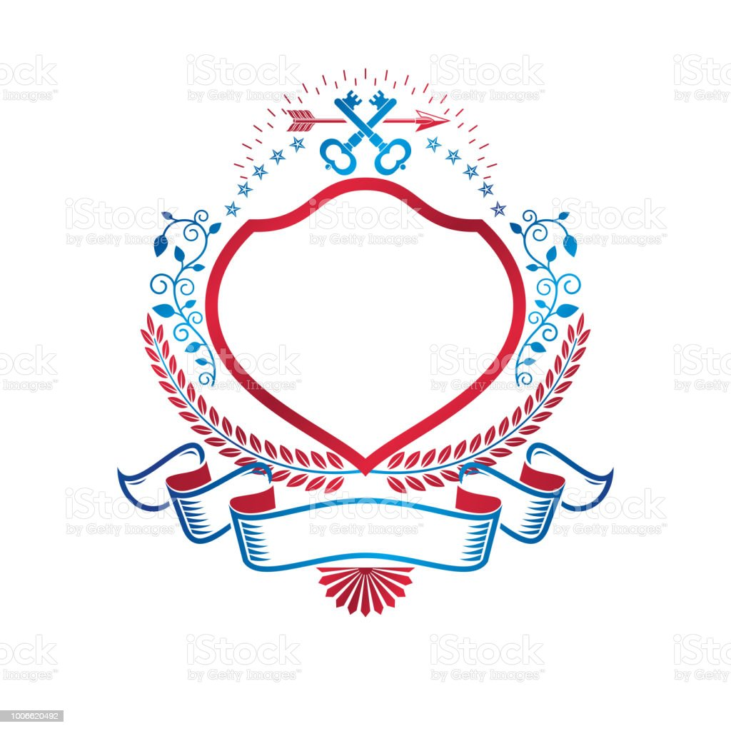 Gráfica emblema feita com elemento chave antiga de Turnkey, lança e majestosa da faixa de opções. Ilustração em vetor brasão heráldico símbolo decorativo isolado - ilustração de arte em vetor