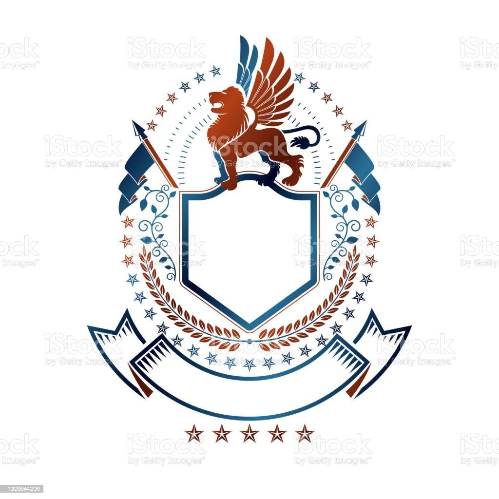 Emblema do gráfica com Leão elemento animal heráldico, estrela pentagonal e sinalizadores. Ilustração em vetor brasão heráldico sinal decorativo isolado. - ilustração de arte em vetor