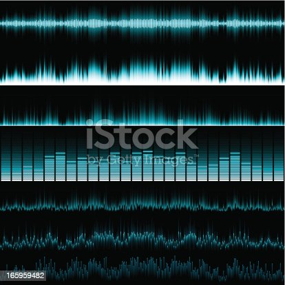 Various blue horizontal music equalisers on a black background.  EPS 10 file using transparencies