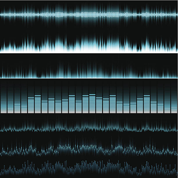 Graphic equalisers Various blue horizontal music equalisers on a black background.  EPS 10 file using transparencies sound mixer stock illustrations